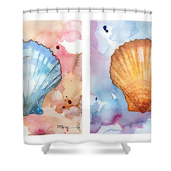 Sea Shells In Contrast Shower Curtain