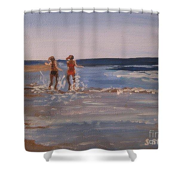 Sea Splashing On The Beach Shower Curtain