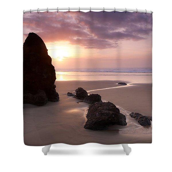Sea Stack Sunset Shower Curtain