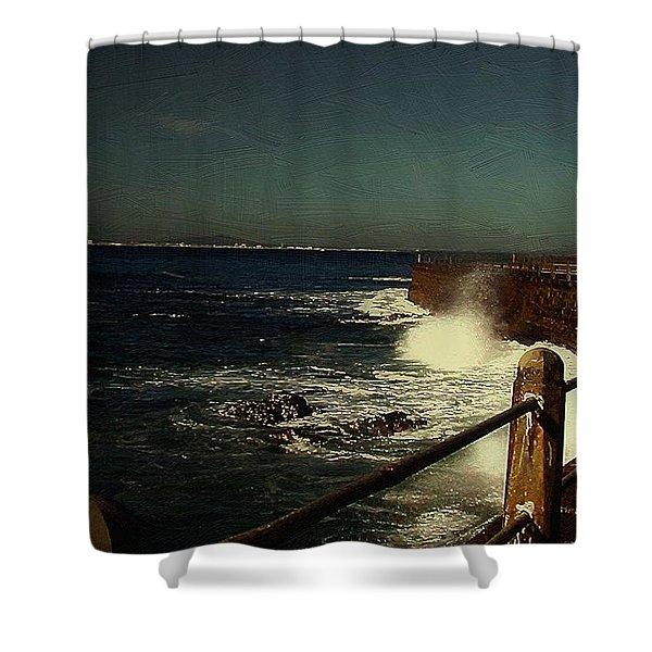 Sea Wall At Night Shower Curtain