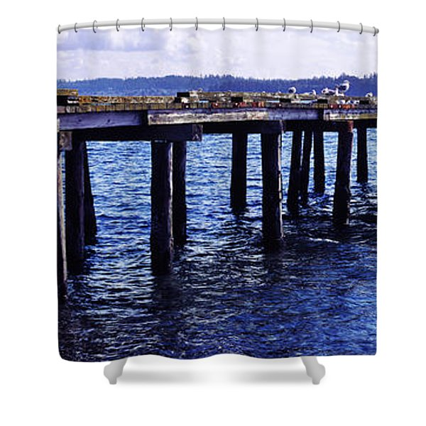 Seagulls On A Pier, Whidbey Island Shower Curtain