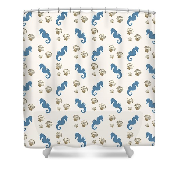 Seahorse And Shells Pattern Shower Curtain