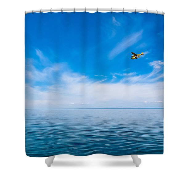 Seaplane Over Lake Superior   Shower Curtain