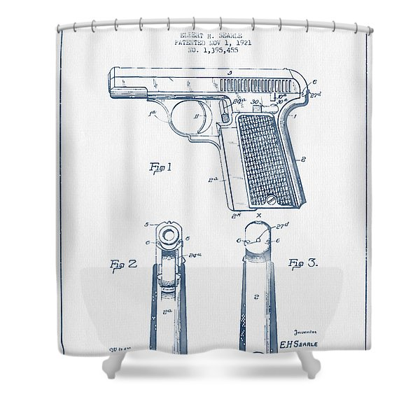 Searle Pistol Patent Drawing From 1921 -  Blue Ink Shower Curtain