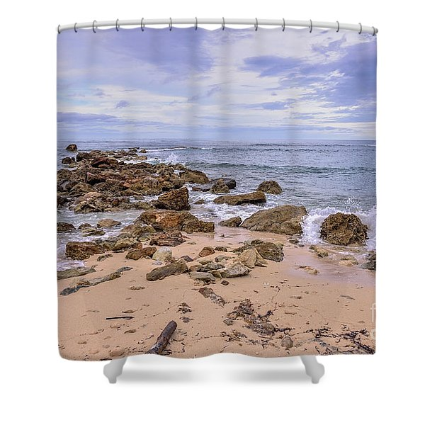 Seascape With Rocks Shower Curtain
