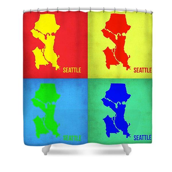 Seattle Pop Art Map 1 Shower Curtain