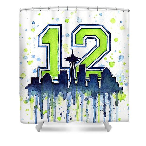 Seattle Seahawks 12th Man Art Shower Curtain