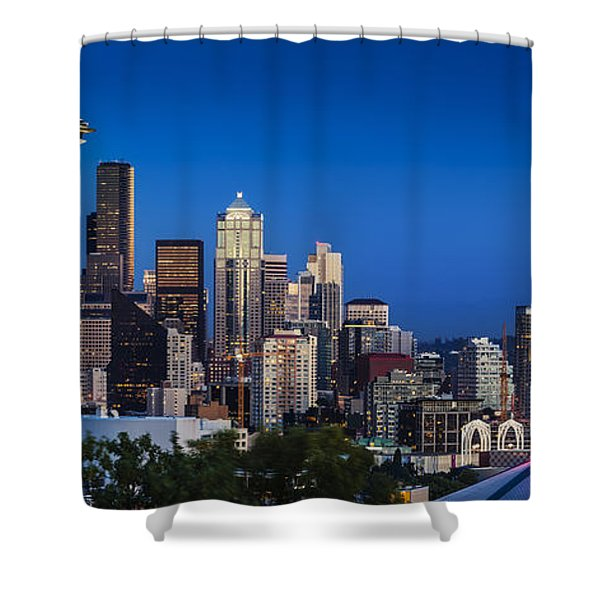 Shower Curtain featuring the photograph Seattle Skyline Panoramic by Brian Jannsen