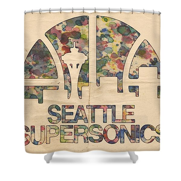 Seattle Supersonics Poster Vintage Shower Curtain