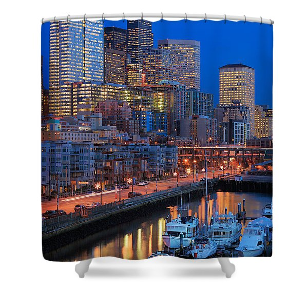 Seattle Waterfront By Night Shower Curtain