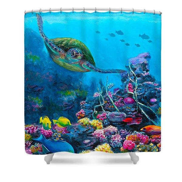 Secret Sanctuary - Hawaiian Green Sea Turtle And Reef Shower Curtain