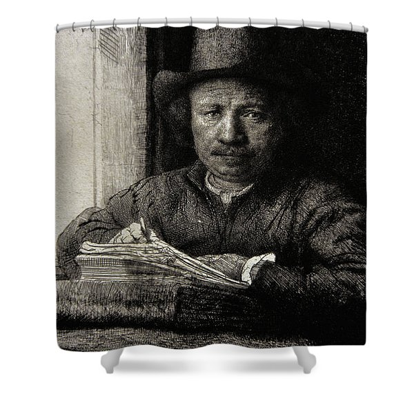 Self-portrait Etching At A Window Shower Curtain