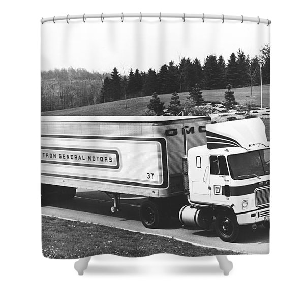 Semi Truck With Dragfoiler Shower Curtain