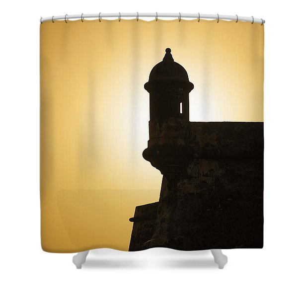 Shower Curtain featuring the photograph Sentry Box At Sunset At El Morro Fortress In Old San Juan by Bryan Mullennix