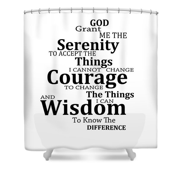 Serenity Prayer 6 - Simple Black And White Shower Curtain