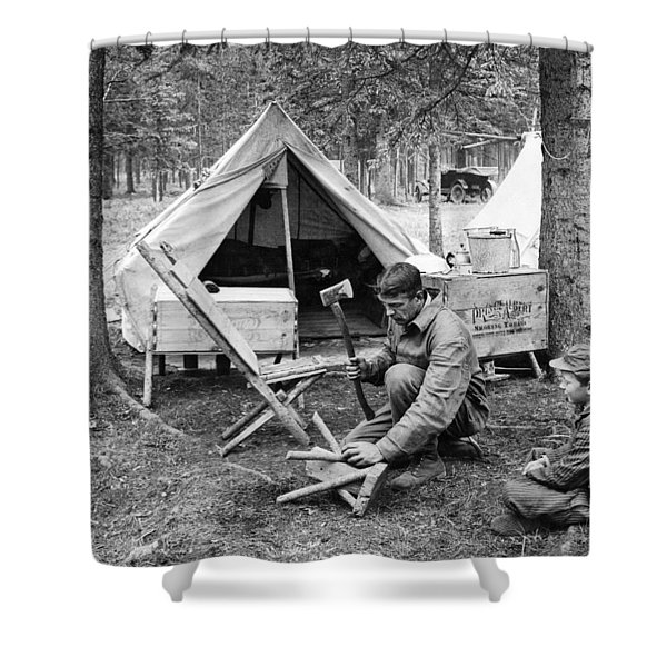 Setting Up Camp Shower Curtain