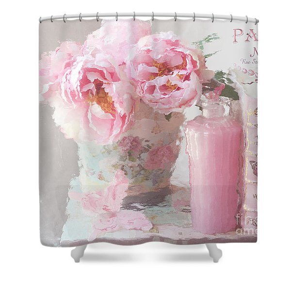 Shabby Chic Cottage Pink Parisian Peonies - Romantic French Impressionistic Pink Peonies Shower Curtain