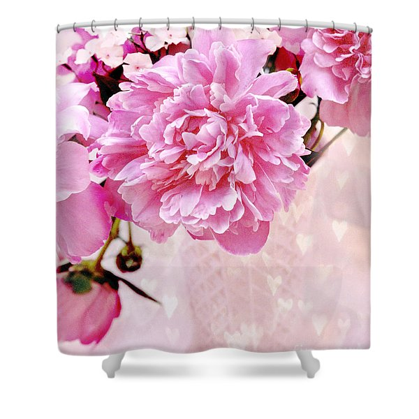 Shabby Chic Pink Peonies In Pink Vase - Dreamy Romantic Pastel Pink Peonies   Shower Curtain