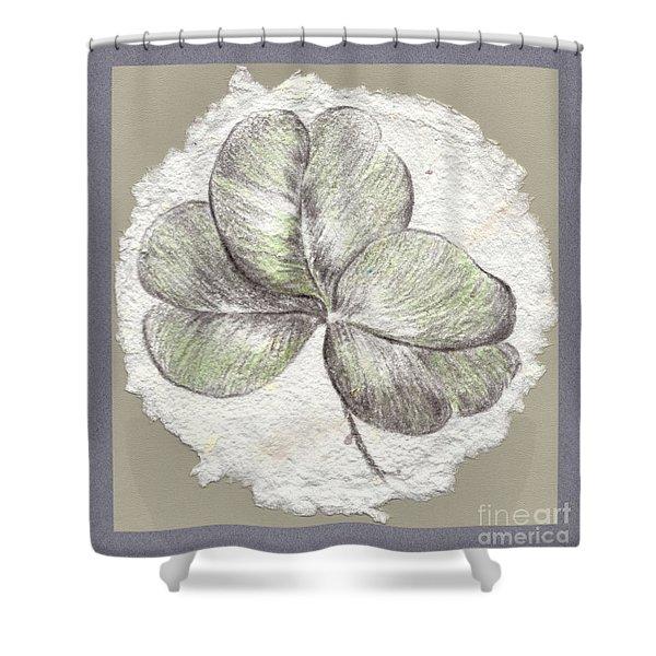 Shamrock On Handmade Paper Shower Curtain