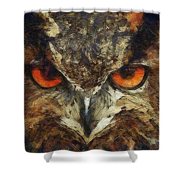 Sharpie Owl Shower Curtain