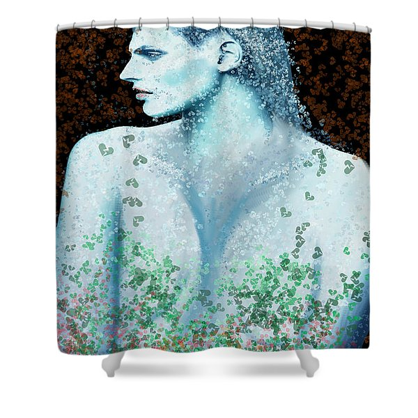 She In Blue Shower Curtain