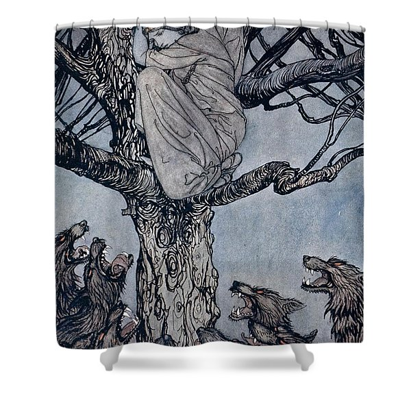 She Looked With Angry Woe At The Straining And Snarling Horde Below Illustration From Irish Fairy  Shower Curtain
