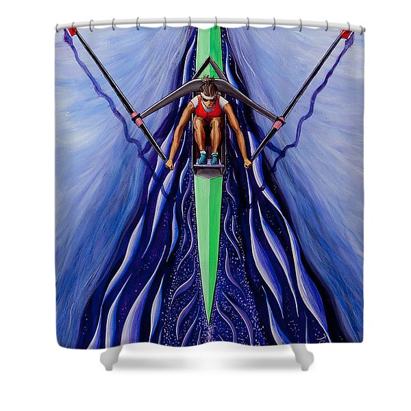 She Scull By O4rsom. Rowing Sport Of Champions Shower Curtain