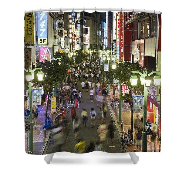 Shinjuku Street Scene At Night Shower Curtain