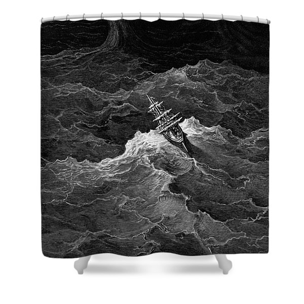 Ship In Stormy Sea Shower Curtain