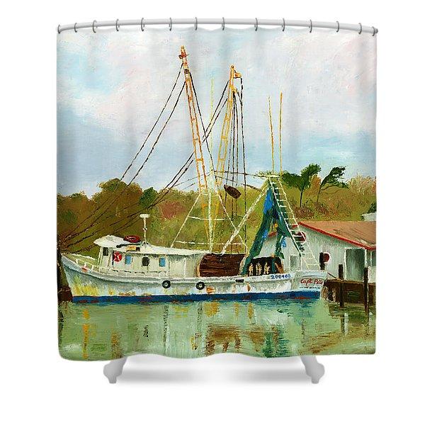 Shrimp Boat At Dock Shower Curtain