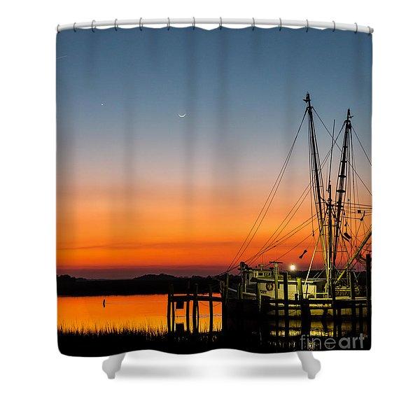 Shrimp Boat At Dusk Folly Beach Shower Curtain