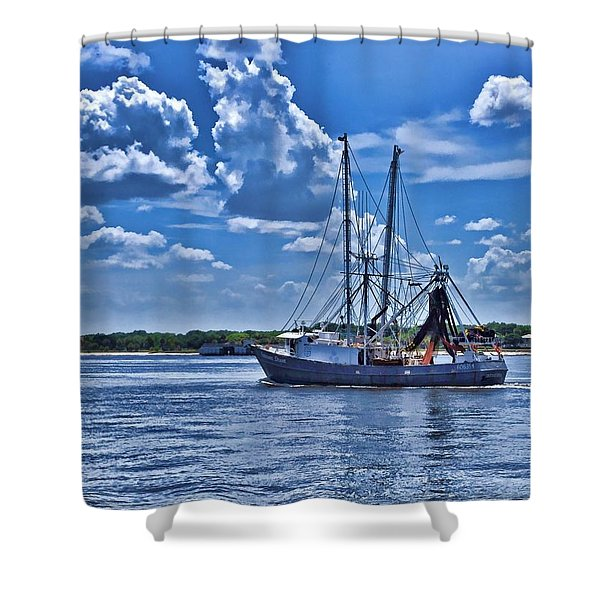 Shrimp Boat Heading To Sea Shower Curtain