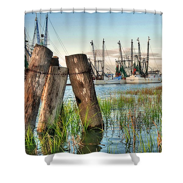 Shrimp Dock Pilings Shower Curtain