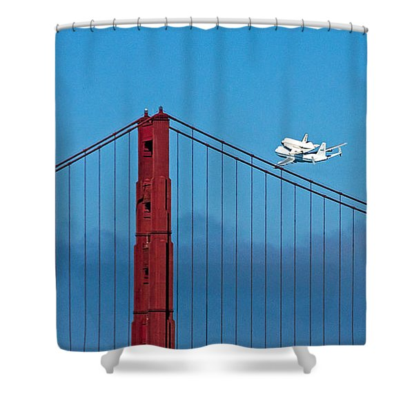 Shuttle Endeavour At The Golden Gate Shower Curtain