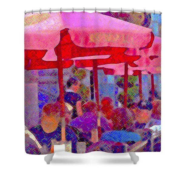 Sidewalk Cafe Digital Painting Shower Curtain