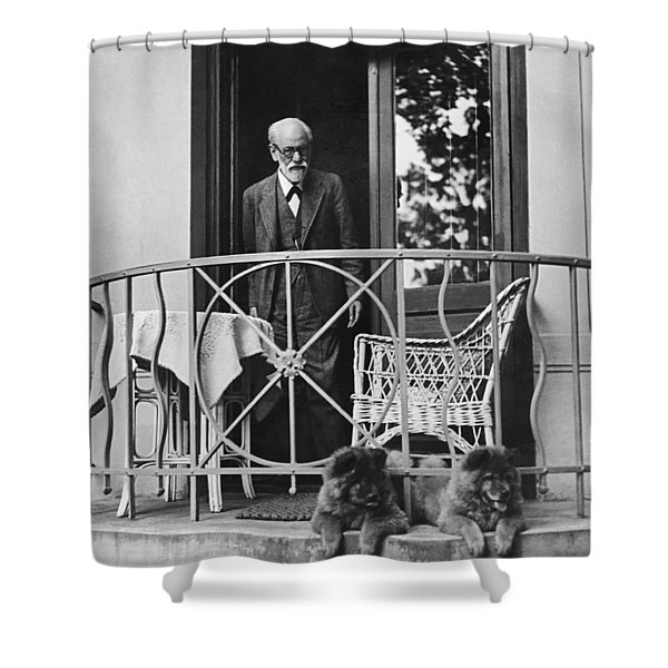 Sigmund Freud With His Chows Shower Curtain