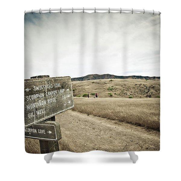 Signs For Hikers On Santa Cruz Island Shower Curtain