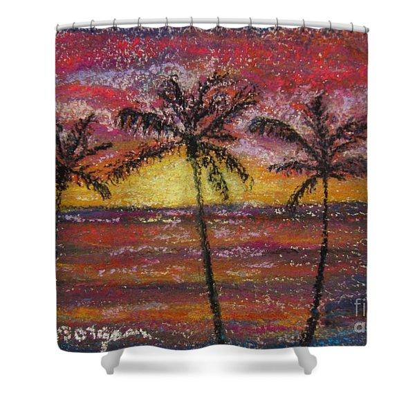 Island Silhouette  Shower Curtain