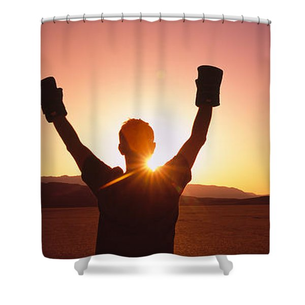Silhouette Of A Person Wearing Boxing Shower Curtain