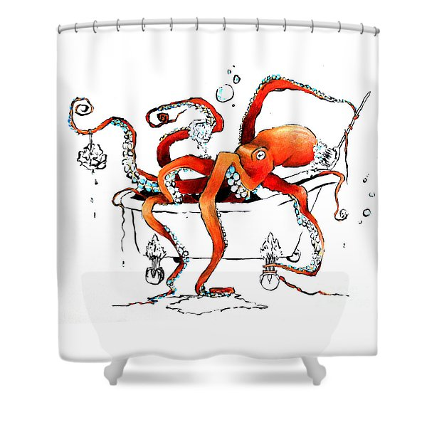 Silly Octopus Taking A Bath Shower Curtain