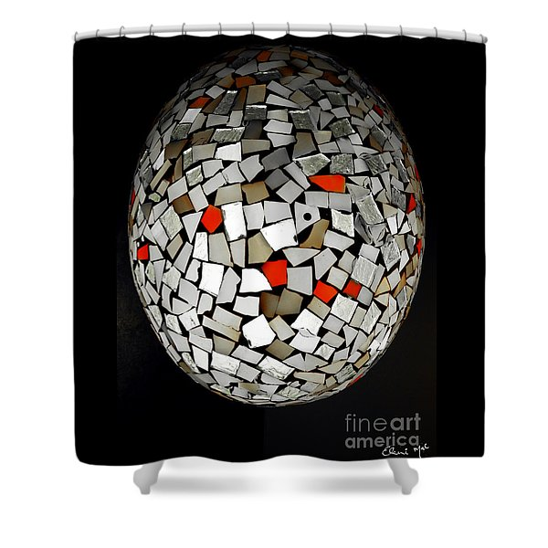 Shower Curtain featuring the digital art Silver Egg by Eleni Mac Synodinos