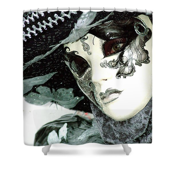 Silver Lacy Eyes Shower Curtain