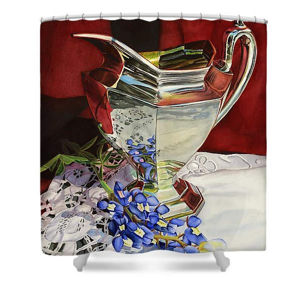 Silver Pitcher And Bluebonnet Shower Curtain