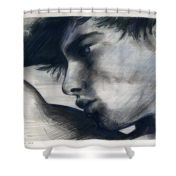 Silver Striped And Justified Shower Curtain