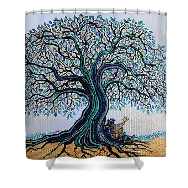 Singing Under The Blues Tree Shower Curtain