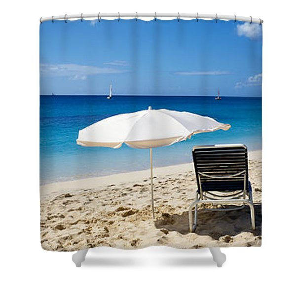 Single Beach Chair And Umbrella On Shower Curtain