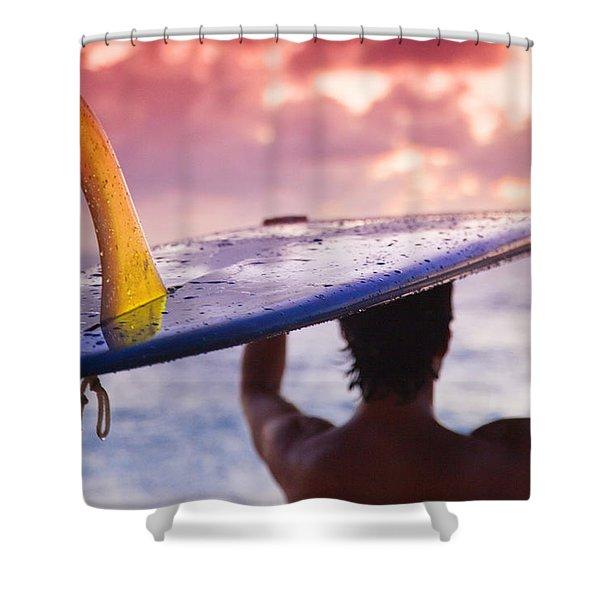 Single Fin Surfer Shower Curtain