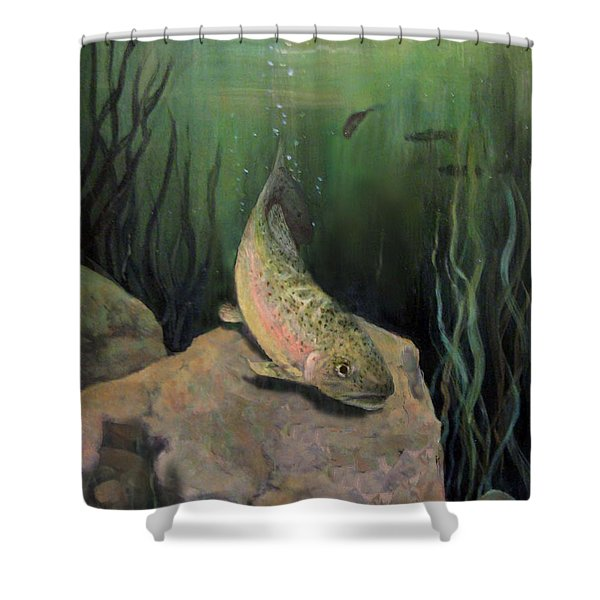 Single Trout Shower Curtain