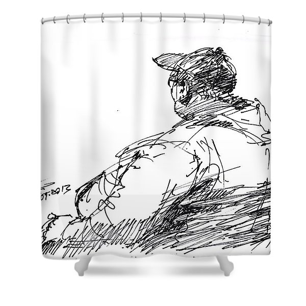 Sitting Man Shower Curtain