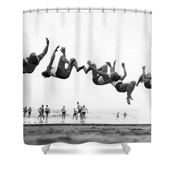 Six Men Doing Beach Flips Shower Curtain